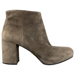 PRADA Size 6 Grey Suede Chunky Heel Ankle Boots