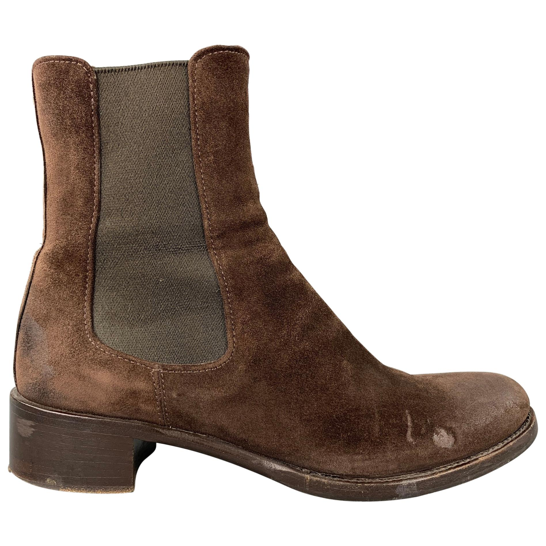 PRADA Size 6.5 Brown Suede Chunky Heel Boots