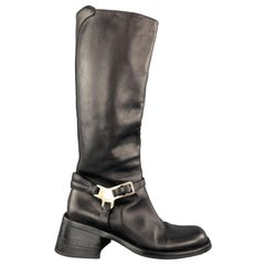 PRADA Size 7 Black Leather Knee High Harness Boots
