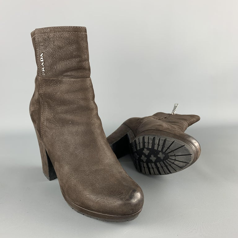 Women's PRADA Size 7.5 Brown Leather Chunky Heel Ankle Boots For Sale