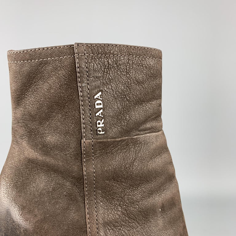 PRADA Size 7.5 Brown Leather Chunky Heel Ankle Boots For Sale 1