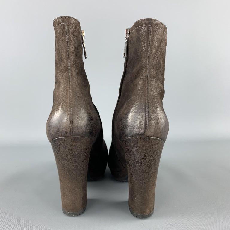 PRADA Size 7.5 Brown Leather Chunky Heel Ankle Boots For Sale 2