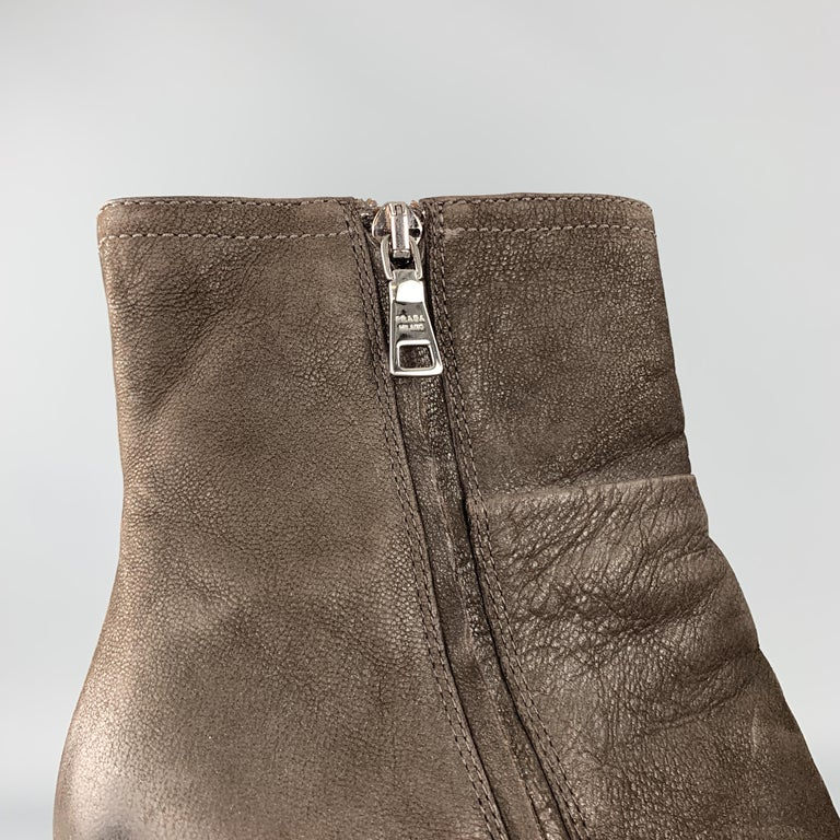 PRADA Size 7.5 Brown Leather Chunky Heel Ankle Boots For Sale 4