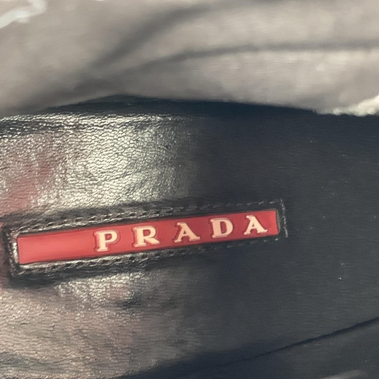 PRADA Size 7.5 Brown Leather Chunky Heel Ankle Boots For Sale 5