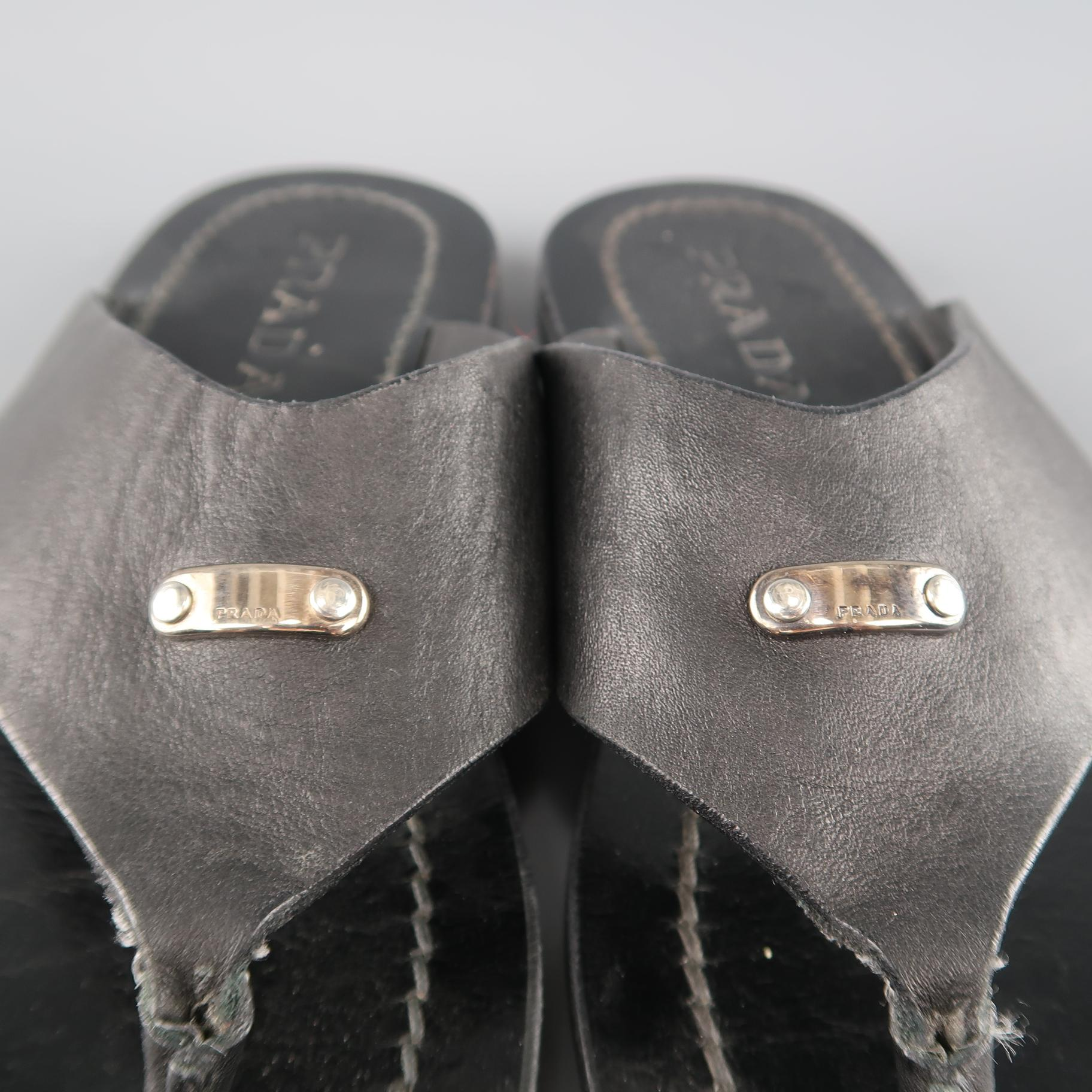 b4a1dab168d PRADA Size 8 Black Leather Silver Logo Thong Sandals For Sale at 1stdibs