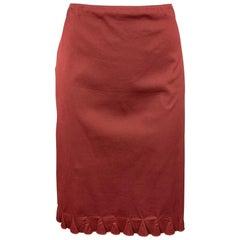 PRADA Size 8 Burgundy Cotton Blend A-Line Skirt