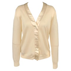PRADA Size 8 Cream Knitted Wool / Silk Elbow Patches Snap Button Cardigan