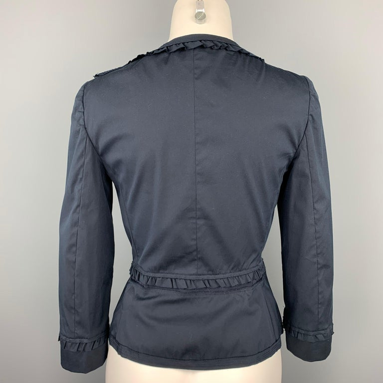 PRADA Size 8 Navy Eyelet Cotton Collarless Jacket In Good Condition For Sale In San Francisco, CA