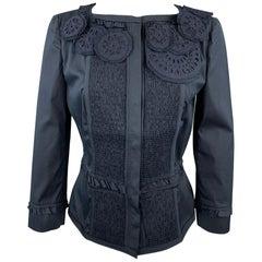 PRADA Size 8 Navy Eyelet Cotton Collarless Jacket