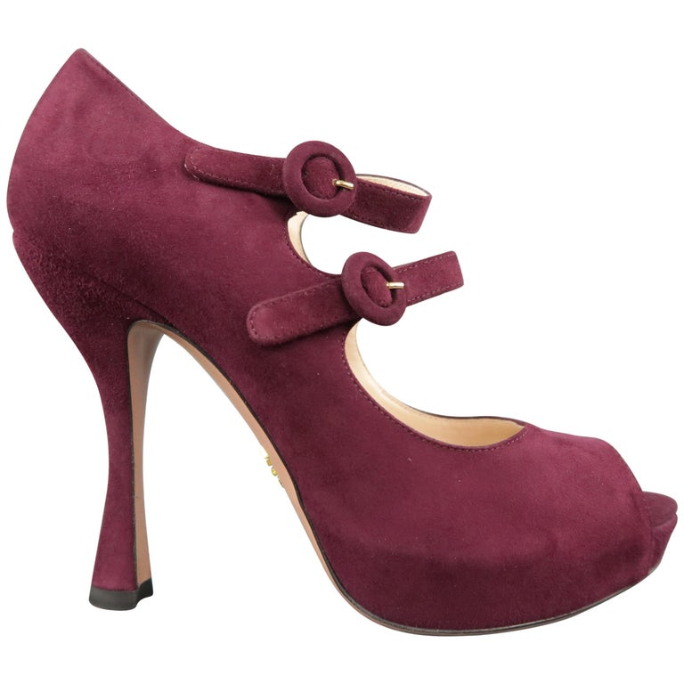 1c19b36af80 PRADA Size 8 Plum Suede Double Mary Jane Strap Peep Toe Platform Pumps For  Sale