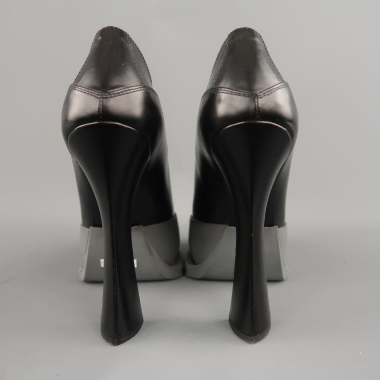 PRADA Size 8.5 Black Leather Gray Rubber Dipped Platform Mary Jane Pumps For Sale 1