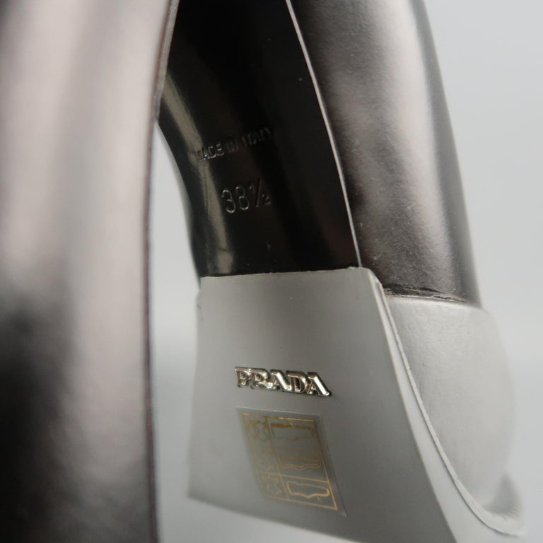 PRADA Size 8.5 Black Leather Gray Rubber Dipped Platform Mary Jane Pumps For Sale 2
