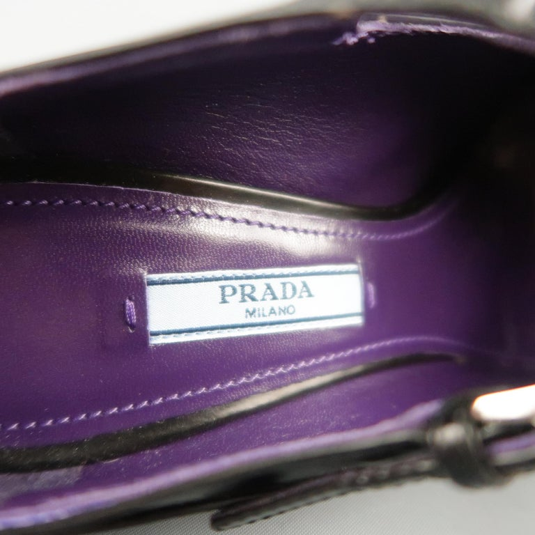 PRADA Size 8.5 Black Leather Gray Rubber Dipped Platform Mary Jane Pumps For Sale 3