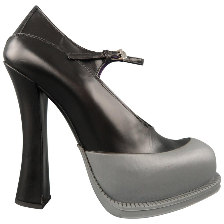 PRADA Size 8.5 Black Leather Gray Rubber Dipped Platform Mary Jane Pumps For Sale