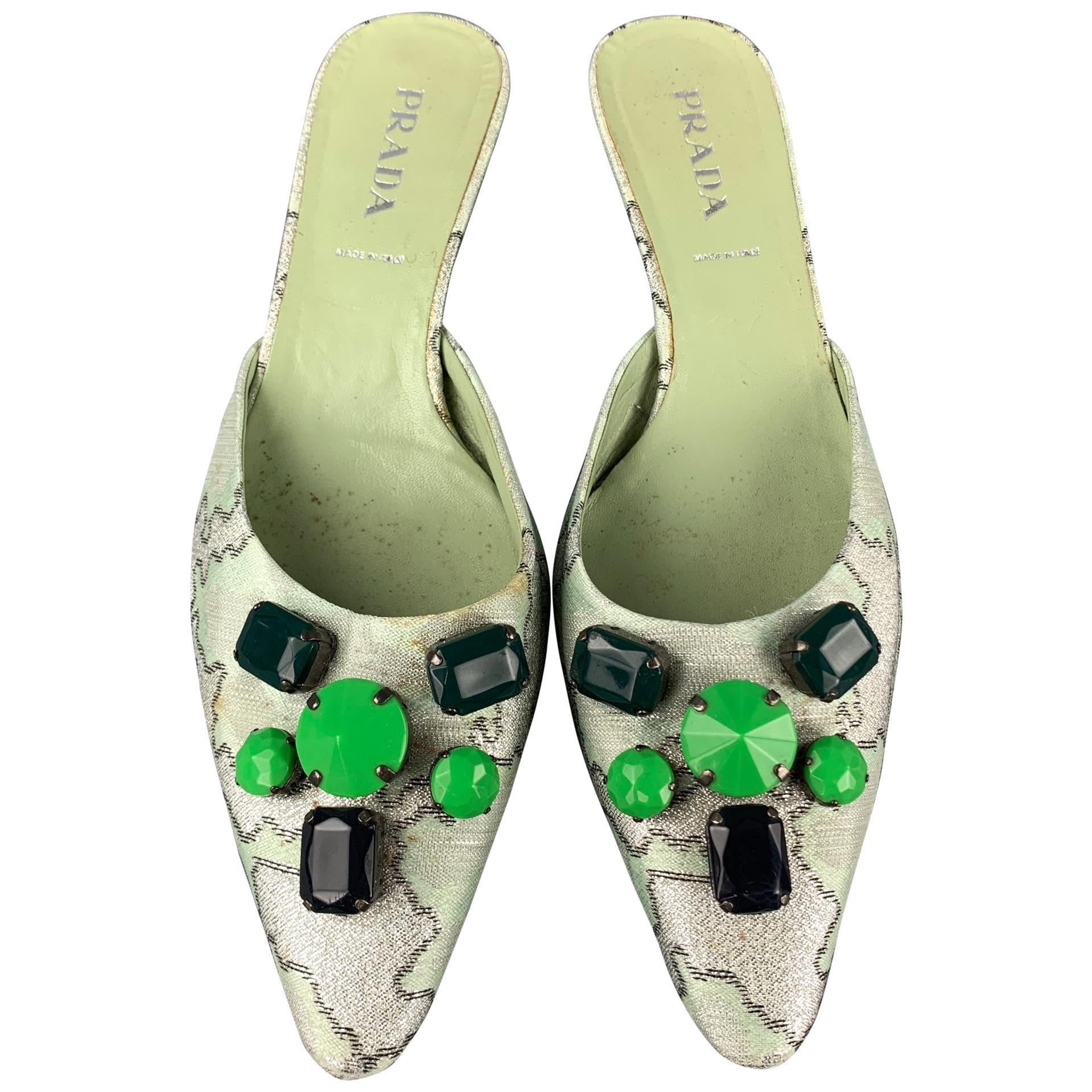 PRADA Size 8.5 Green Embellishments Silk Kitten Heel Pumps