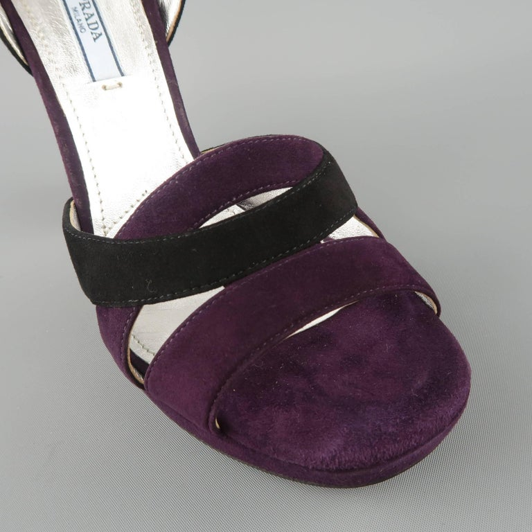026193e53 PRADA Size 8.5 Violet Suede Thick Copper Rhinestone Heel Platform Sandals  In Good Condition For Sale