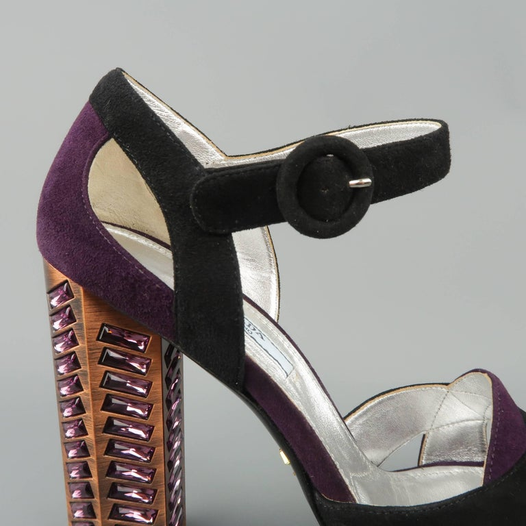 60e6a72b4 Women s PRADA Size 8.5 Violet Suede Thick Copper Rhinestone Heel Platform  Sandals For Sale