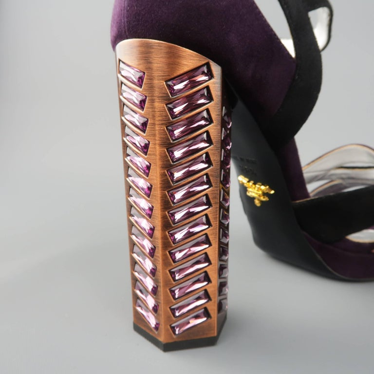 e1193a56e PRADA Size 8.5 Violet Suede Thick Copper Rhinestone Heel Platform Sandals  For Sale 2