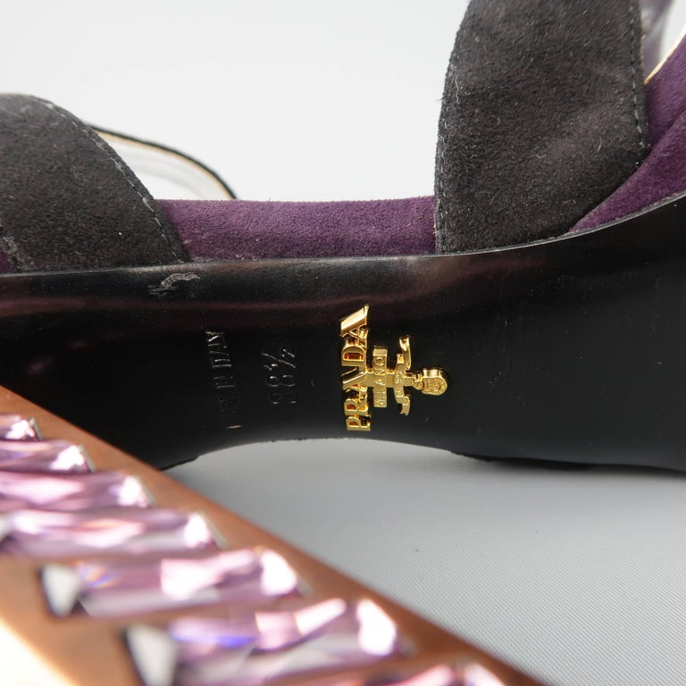 4b46fdee4 PRADA Size 8.5 Violet Suede Thick Copper Rhinestone Heel Platform Sandals  For Sale 3