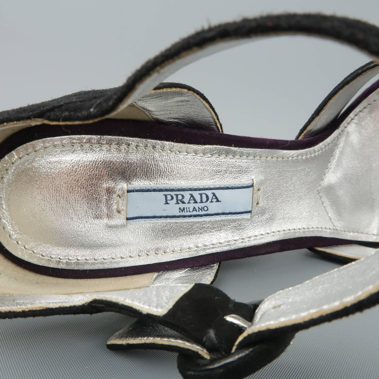135f64879 PRADA Size 8.5 Violet Suede Thick Copper Rhinestone Heel Platform Sandals  For Sale 4