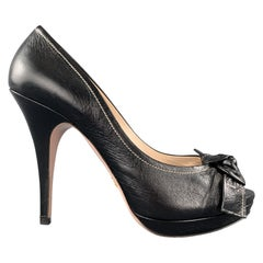 PRADA Size 9 Black Leather Peep Toe Knot Platform Pumps