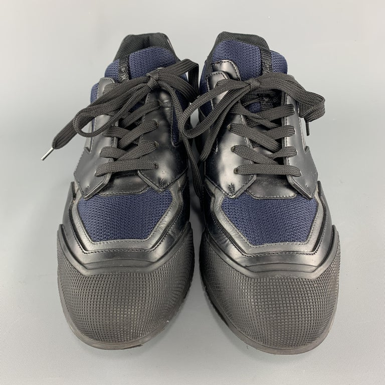 PRADA Size 9 Black & Navy Mesh & Leather Chunky Rubber Sole Sneaker For Sale 1