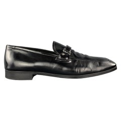 PRADA Size 9 Black Patent Leather Enamel Logo Strap Loafers