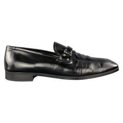 PRADA Size 9 Black Patent Leather Enamel Logo Strap Loafers