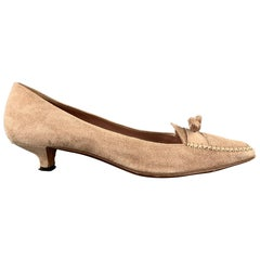 PRADA Size 9.5 Beige Suede Loafer Kitten Heel Pumps