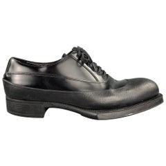 PRADA Size 9.5 Black Leather Lace Up Dress Shoes