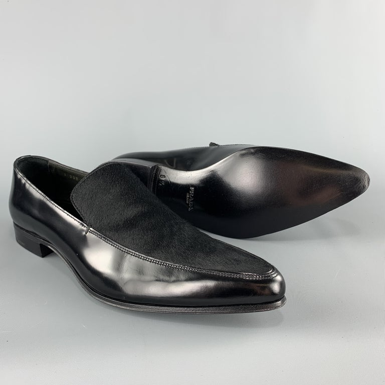 PRADA Size 9.5 Black Leather Pointed Pony Hair Dress Loafers In New Condition In San Francisco, CA
