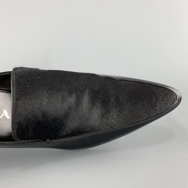 Men's PRADA Size 9.5 Black Leather Pointed Pony Hair Dress Loafers