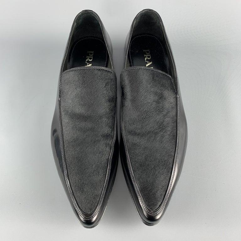 PRADA Size 9.5 Black Leather Pointed Pony Hair Dress Loafers 1