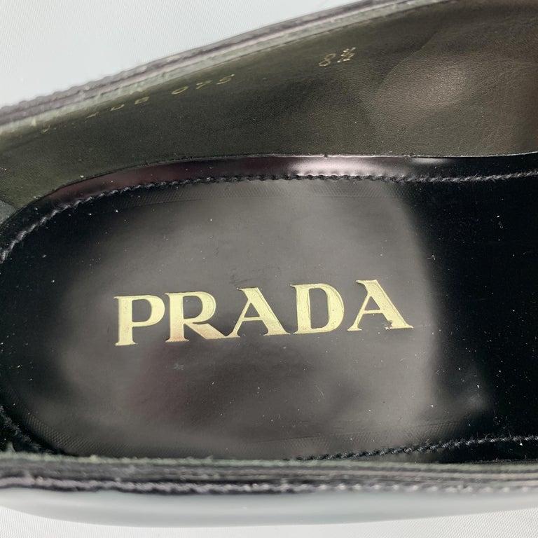 PRADA Size 9.5 Black Leather Pointed Pony Hair Dress Loafers 2