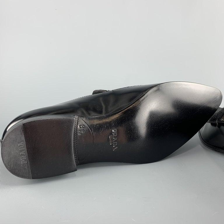 PRADA Size 9.5 Black Leather Pointed Pony Hair Dress Loafers 4