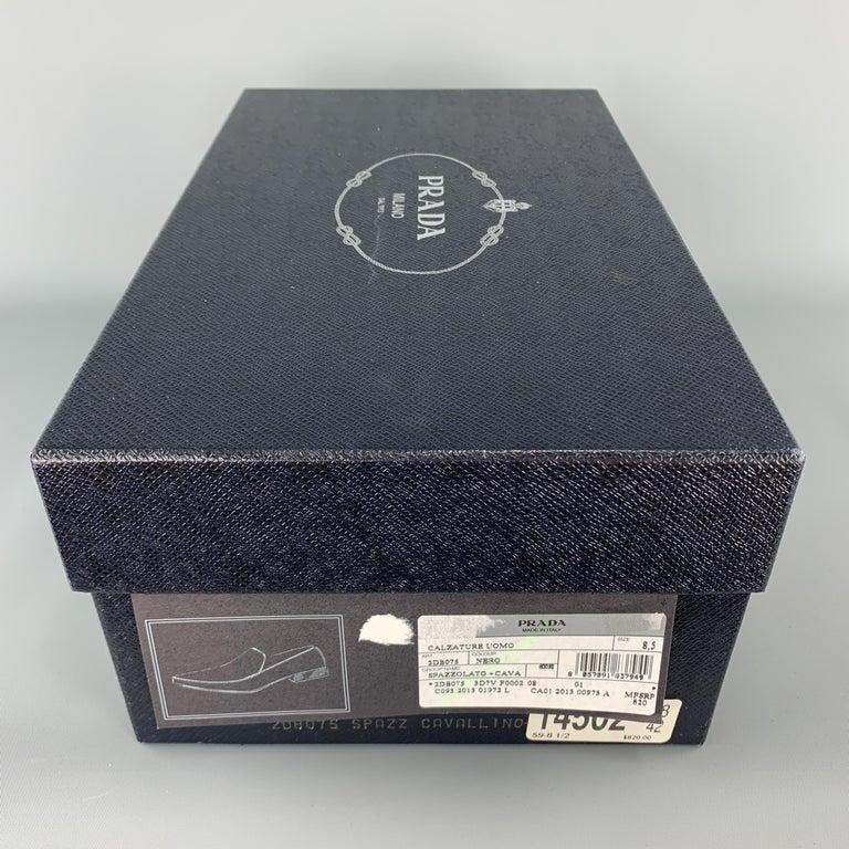 PRADA Size 9.5 Black Leather Pointed Pony Hair Dress Loafers 5