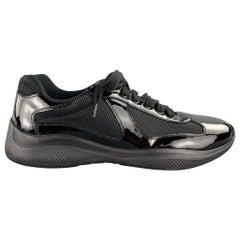 PRADA Size 9.5 Black Nylon Lace Up Sneakers