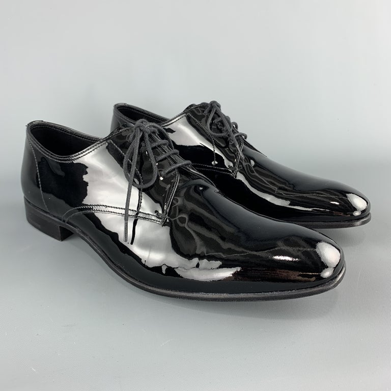 PRADA Size 9.5 Black Patent Leather Lace Up Dress Shoes In Excellent Condition For Sale In San Francisco, CA