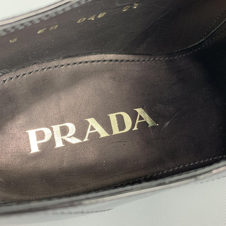 PRADA Size 9.5 Black Patent Leather Lace Up Dress Shoes For Sale 1