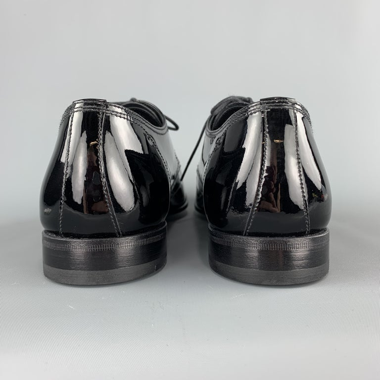 PRADA Size 9.5 Black Patent Leather Lace Up Dress Shoes For Sale 2