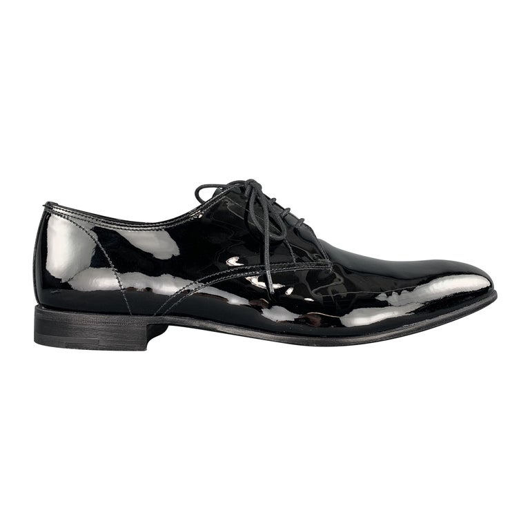 PRADA Size 9.5 Black Patent Leather Lace Up Dress Shoes For Sale