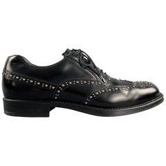 PRADA Size 9.5 Black Studded Leather Wingtip Lace Up Oxfords