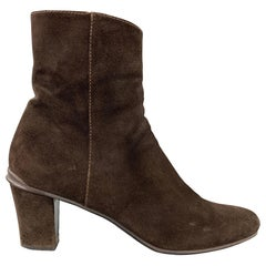PRADA Size 9.5 Brown Suede Ankle Boots