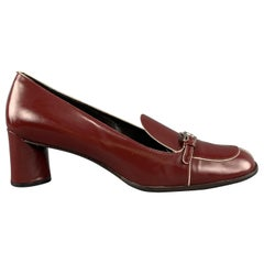 PRADA Size 9.5 Burgundy Leather Loafer Pumps