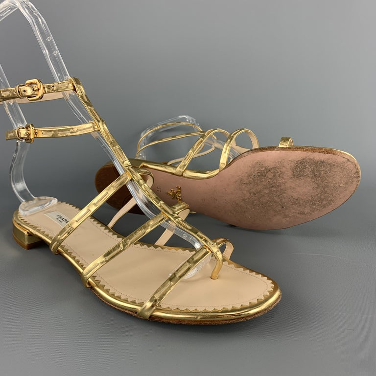 PRADA Size 9.5 Gold Leather Gladiator Sandals In Good Condition For Sale In San Francisco, CA