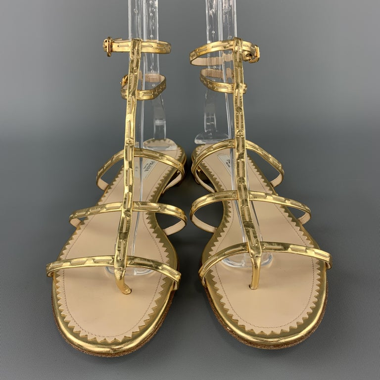 Women's PRADA Size 9.5 Gold Leather Gladiator Sandals For Sale