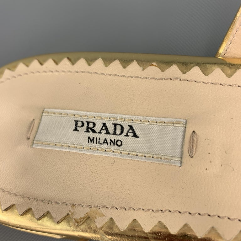 PRADA Size 9.5 Gold Leather Gladiator Sandals For Sale 2