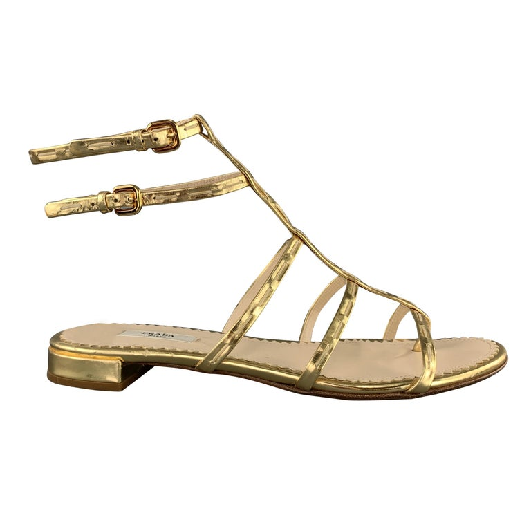 PRADA Size 9.5 Gold Leather Gladiator Sandals For Sale