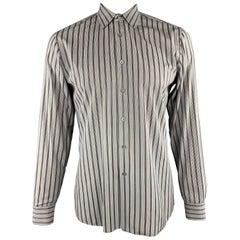 PRADA Size L Gray Brown Green & Purple Stripe Cotton Long Sleeve Shirt