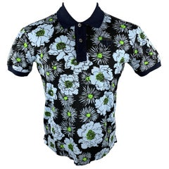PRADA Size L Navy Blue & Green Floral Cotton Buttoned Polo